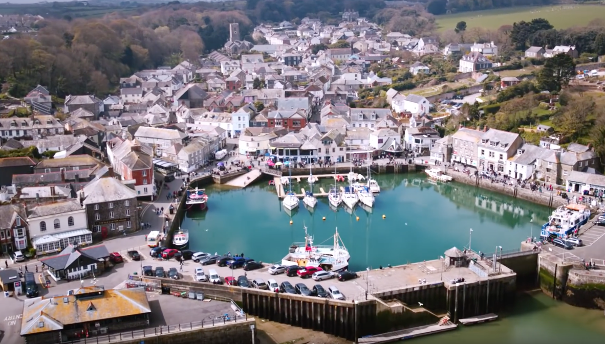 An aerial view of Padstow Harbour taken by Skyhook Drone Team for EDF Energy road trip series.