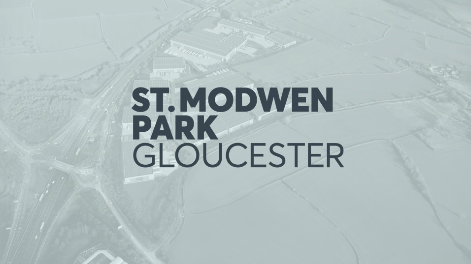 Aerial view St Modwen business park title screen CGI